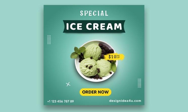 Ice cream social media banner psd template