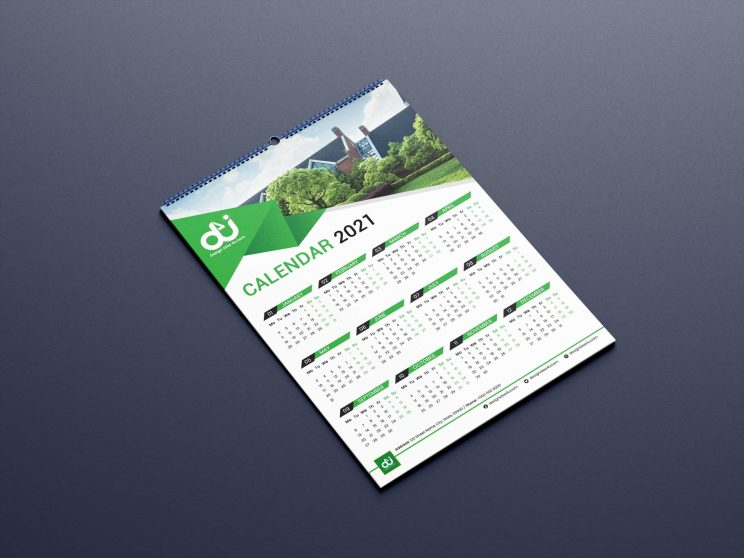 12 Month One Page Calendar Template for 2021