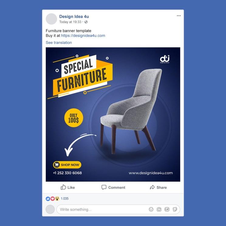 Dark Blue Color Exclusive Furniture Product Facebook Post Banner
