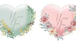 Valentine Heart Shape I Love You Words With Watercolor Flower and Leaves