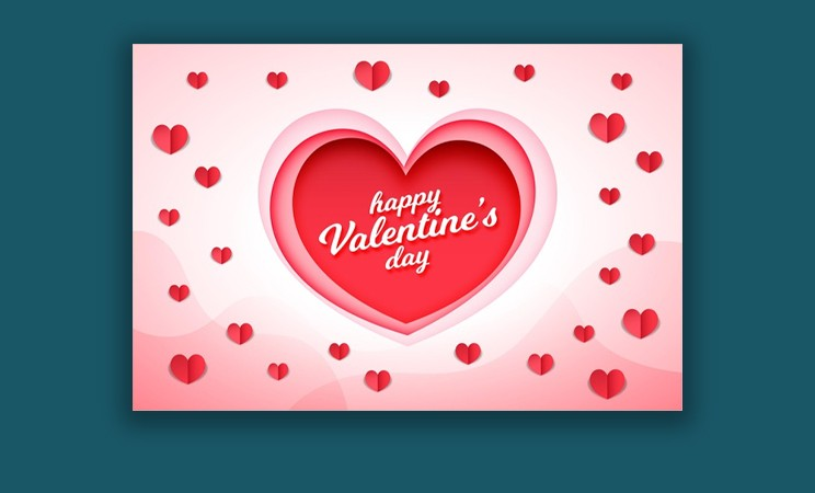 Valentine's Day Background In Paper Style Free Vector