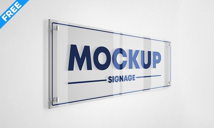 Best 3D Glass Signage Logo Mockup Free PSD