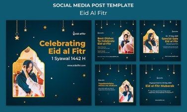 Best 5 Eid Al-Fitr Social Media Posts Template Design