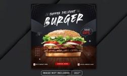 Burger and Food Menu Social Media Banner