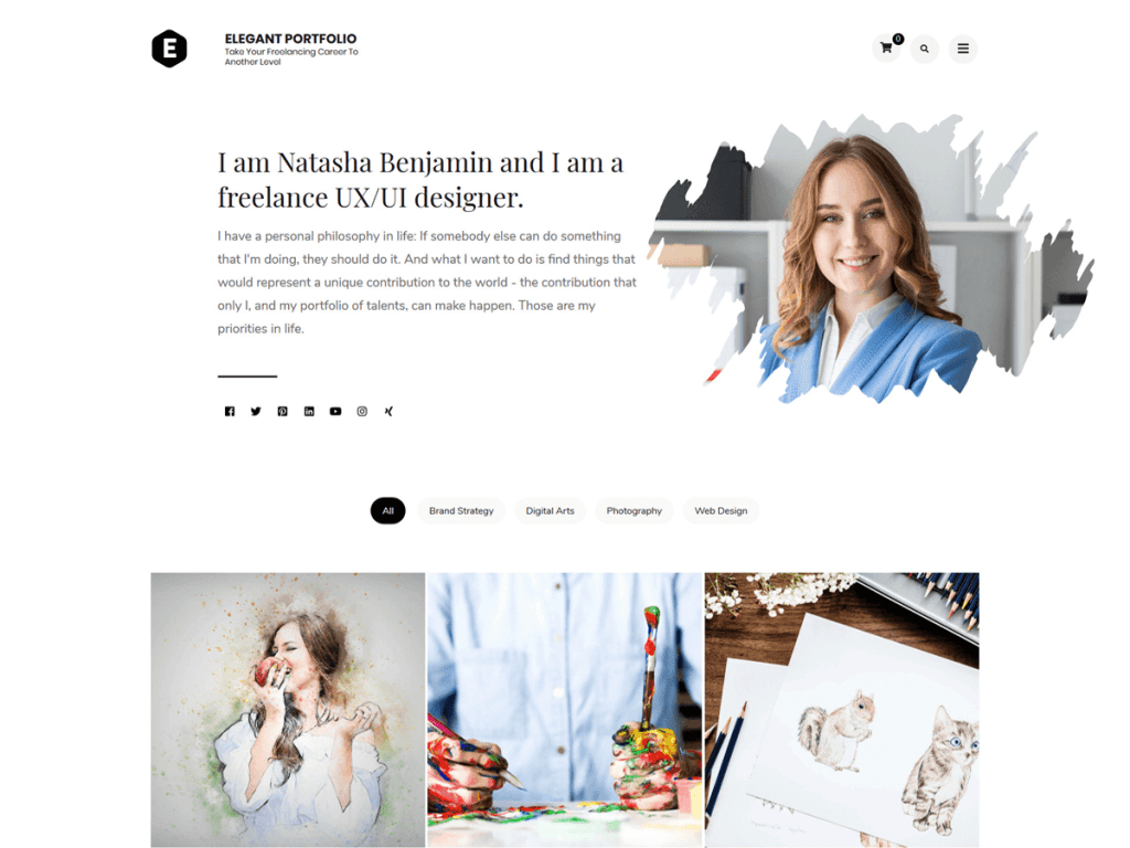 elegeant portfolio - free wordpress theme