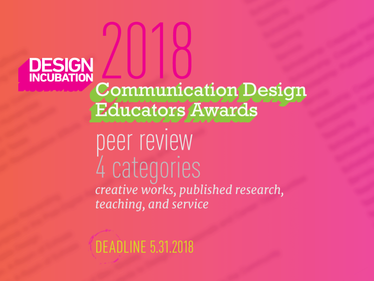 Communication Design Educators Awards 2018: Design Incubation
