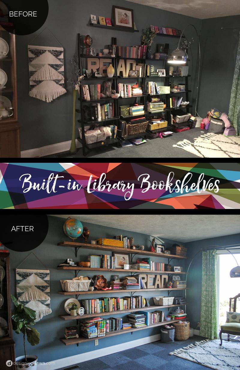Before & After DIY Library Bookshelves - DesigningDawn.com