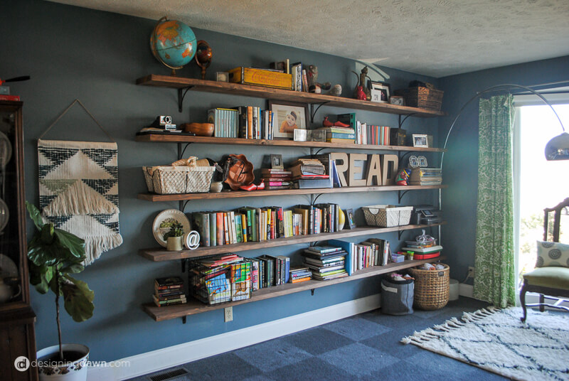 DIY Library Bookshelves-1