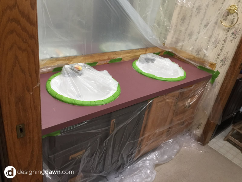 Painting a Bathroom Counter - DesigningDawn.com