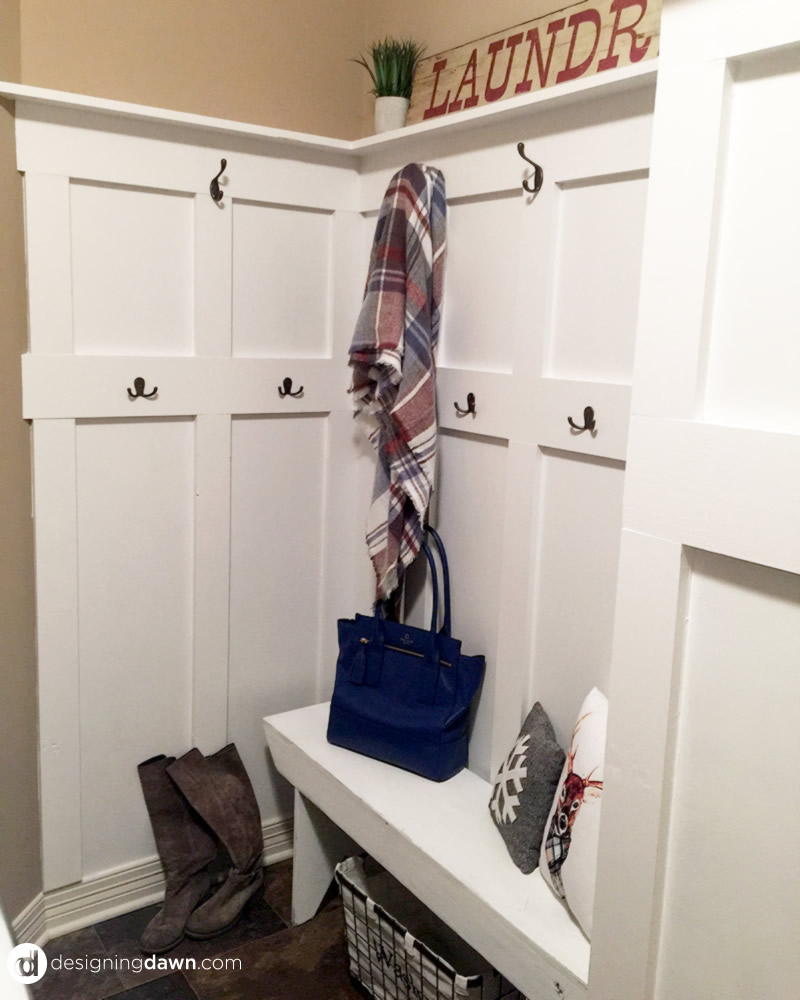 DIY Board and Batten Mud Room Update - DesigningDawn.com