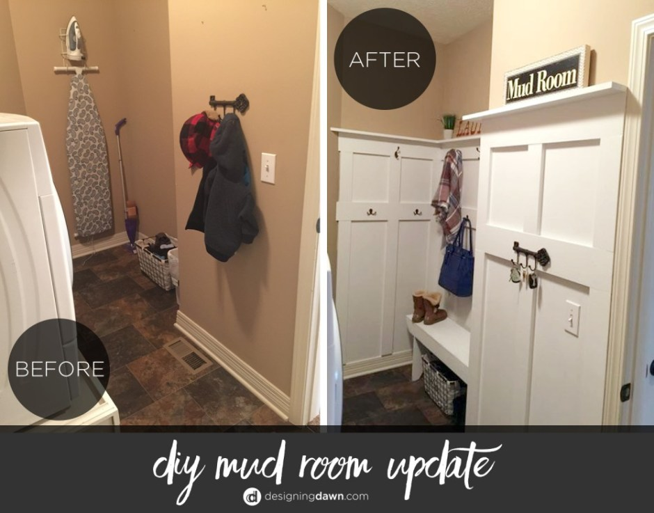 Mudroom Before and After - DesigningDawn.com
