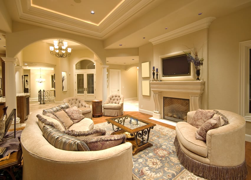 50 Elegant Living Rooms  Beautiful Decorating Designs   Ideas     Grand living room with elegant decor and tray ceiling