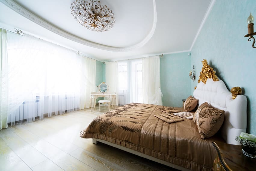 57 Romantic Bedroom Ideas  Design   Decorating Pictures    Designing     Designer bedroom with light blue walls sheer curtains