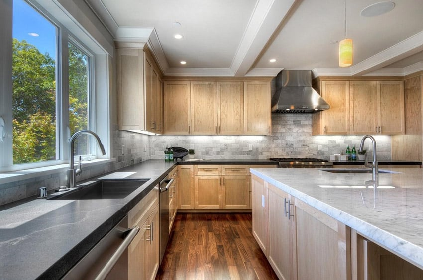 53 High-End Contemporary Kitchen Designs (With Natural ... on Natural Maple Cabinets With Quartz Countertops  id=68966