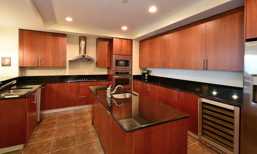 25 Cherry Wood Kitchens (Cabinet Designs & Ideas ... on Maple Kitchen Cabinets With Black Granite Countertops  id=28462
