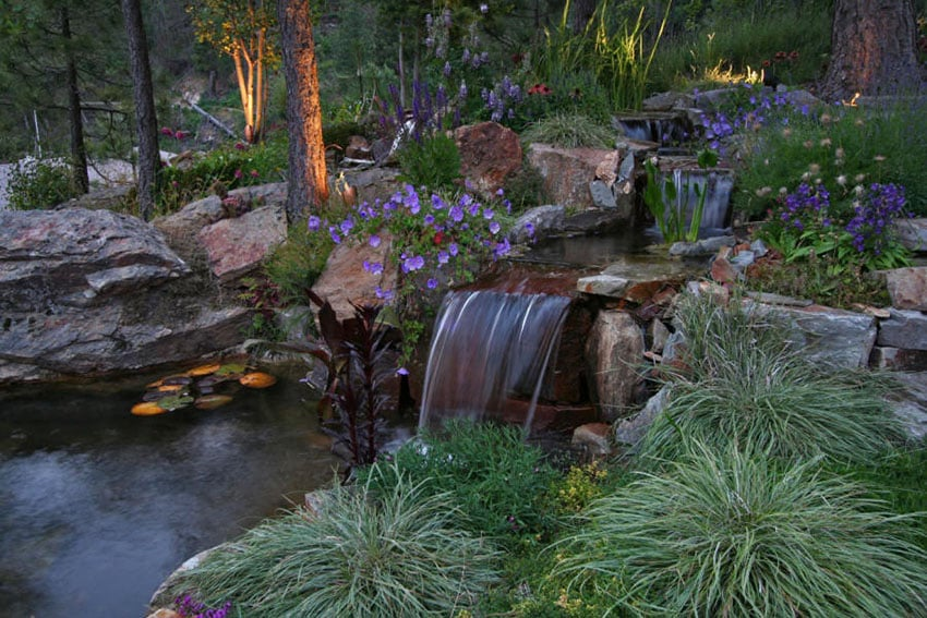 53 Backyard Garden Waterfalls (Pictures of Designs ... on Small Backyard Pond With Waterfall id=89859