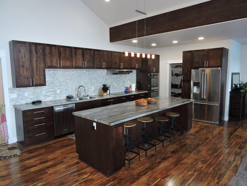 35 Luxury Kitchens with Dark Cabinets (Design Ideas ... on Maple Kitchen Cabinets With Dark Wood Floors Dark Countertops  id=33775