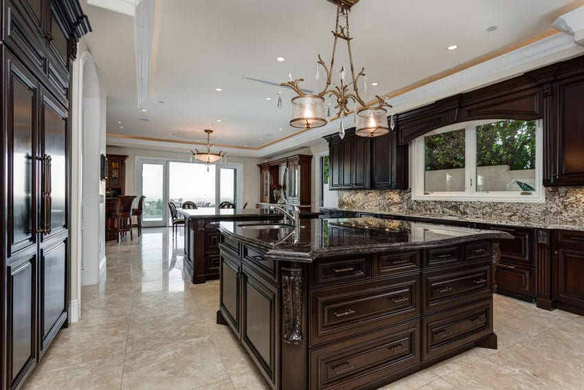 35 Luxury Kitchens with Dark Cabinets (Design Ideas ... on Backsplash Ideas For Dark Cabinets And Light Countertops  id=46539