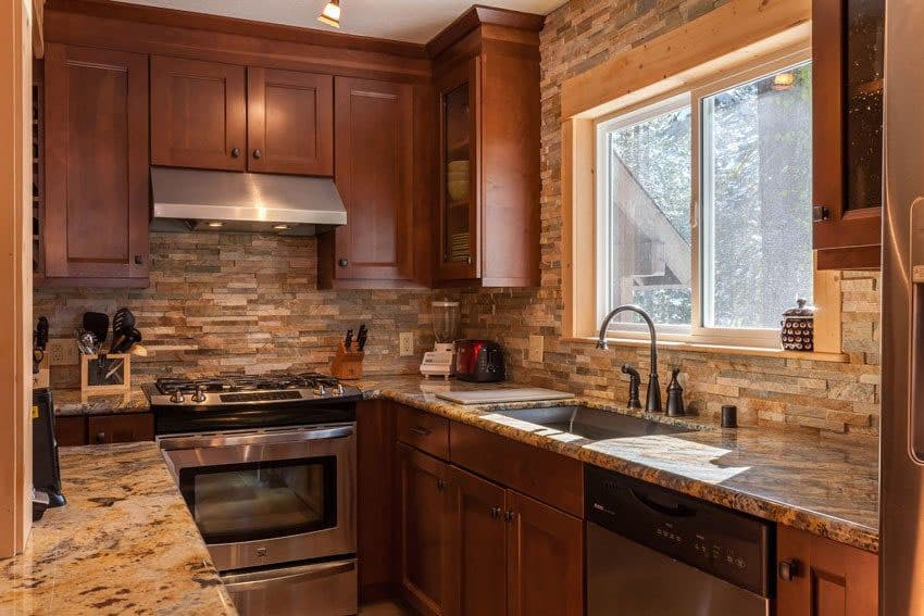 23 Small Galley Kitchens (Design Ideas) - Designing Idea on Backsplash For Black Granite Countertops And Brown Cabinets  id=19617