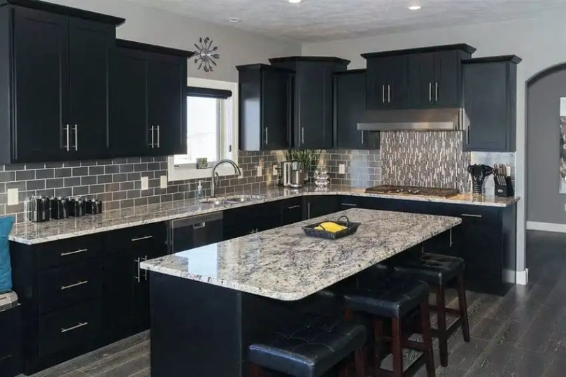 Beautiful Black Kitchen Cabinets  Design Ideas    Designing Idea Contemporary kitchen with black cabinets  island and giallo verona granite  counters