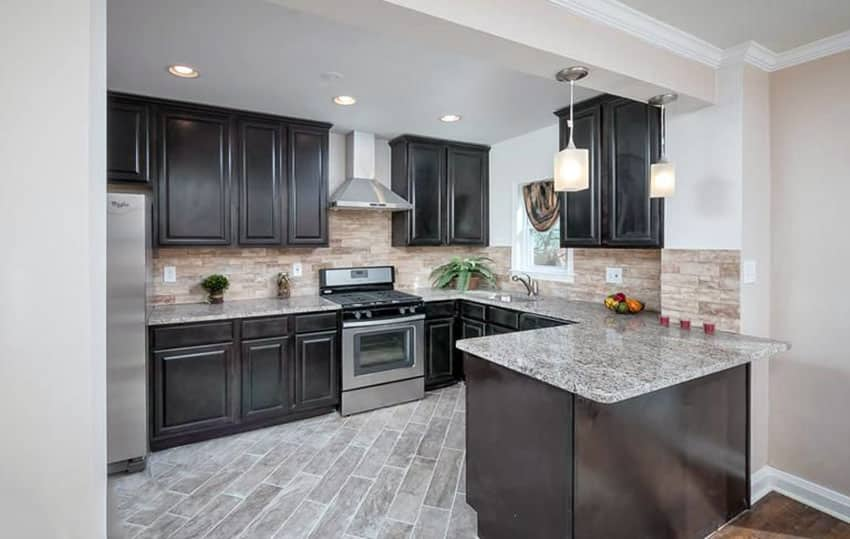 27 Small Kitchens with Dark Cabinets (Design Ideas ... on Backsplash Ideas For Dark Cabinets And Light Countertops  id=84546