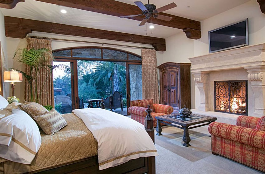 luxury master bedrooms with fireplaces - designing idea