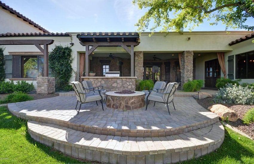 Paving Stone Ideas (Patio & Walkway Designs) - Designing Idea on Small Backyard Stone Patio Ideas id=83930