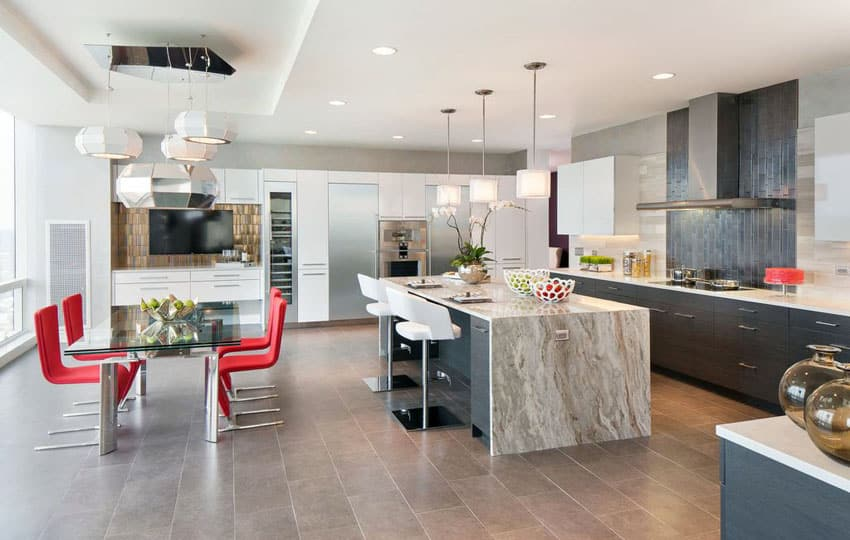 Beautiful Waterfall Kitchen Islands Countertop Designs
