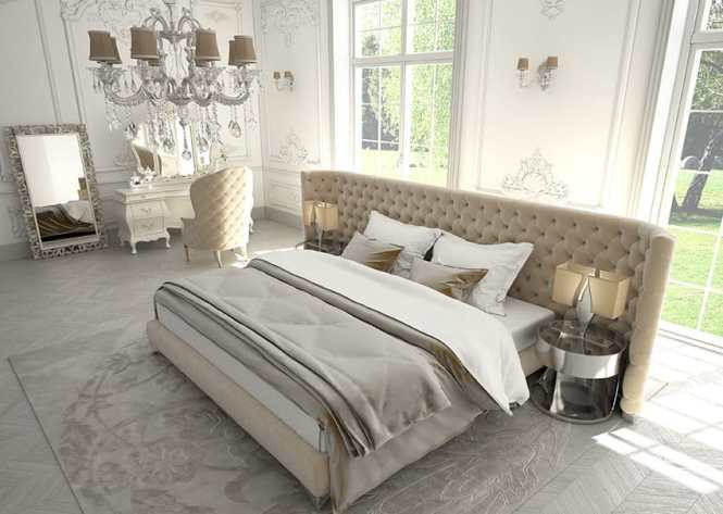 Platform Bed With Wide Tufted Headboard