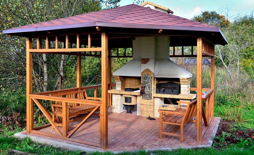 38 Beautiful Backyard Pavilion Ideas (Design Pictures ... on Outdoor Patio Pavilion id=35598
