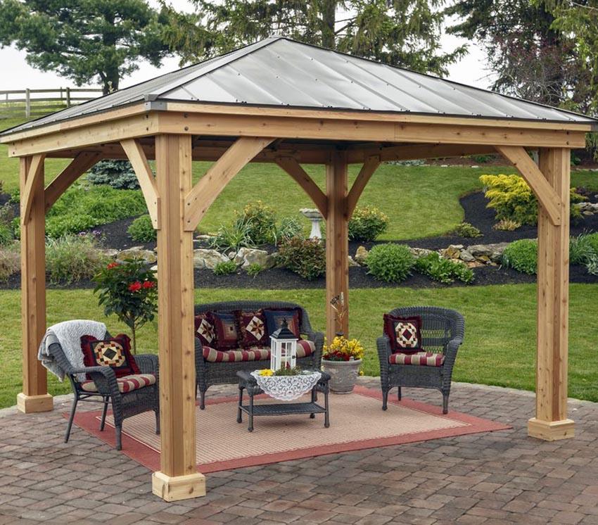 38 Beautiful Backyard Pavilion Ideas (Design Pictures ... on Outdoor Patio Pavilion id=95222