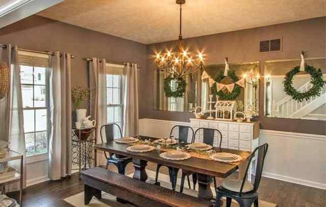 Öz odun boya rengi ile yemek odası