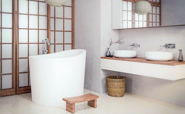 Ofuro Japon banyo küveti, shoji kapılı