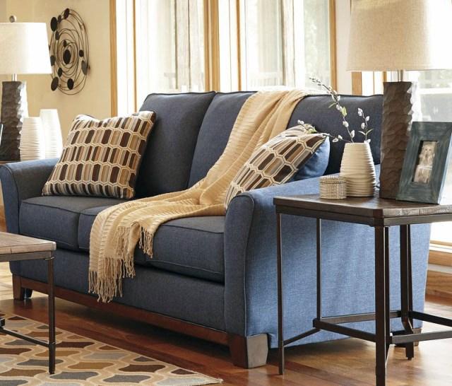 Denim mavisi renkli polyester kanepe