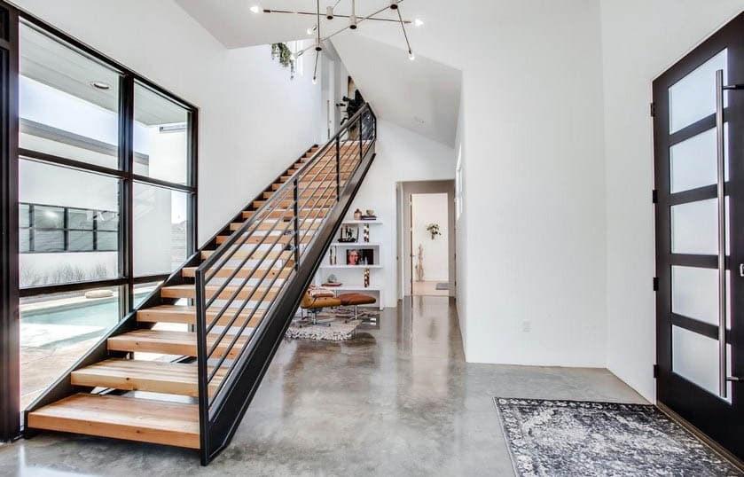 Indoor Stair Railing Design Designing Idea | Black Metal Stair Railing | Minimalist Simple Stair | Craftsman Style | Brushed Nickel | Rustic | Horizontal