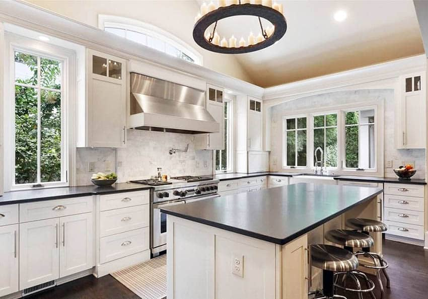 White Kitchen Cabinets with Dark Countertops - Designing Idea on Kitchen Backsplash With Black Countertop  id=24279