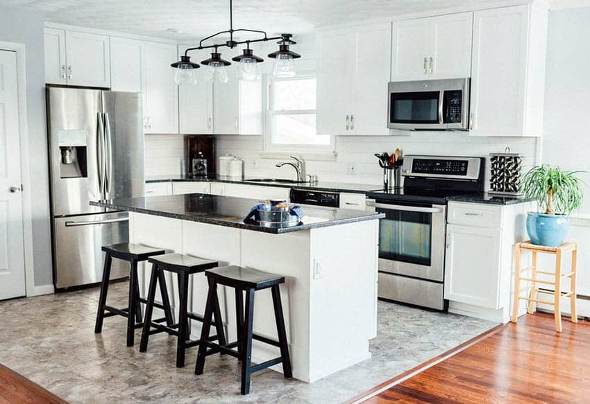 White Kitchen Cabinets with Dark Countertops - Designing Idea on Dark Granite Countertops With Dark Cabinets  id=90791
