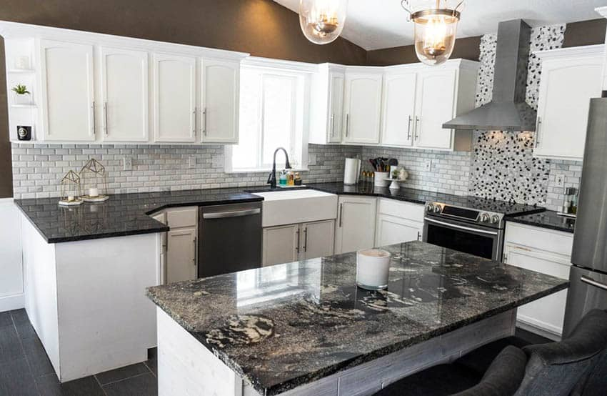 Kitchen Countertop Ideas with White Cabinets - Designing Idea on Backsplash For Black Granite Countertops And White Cabinets  id=11669