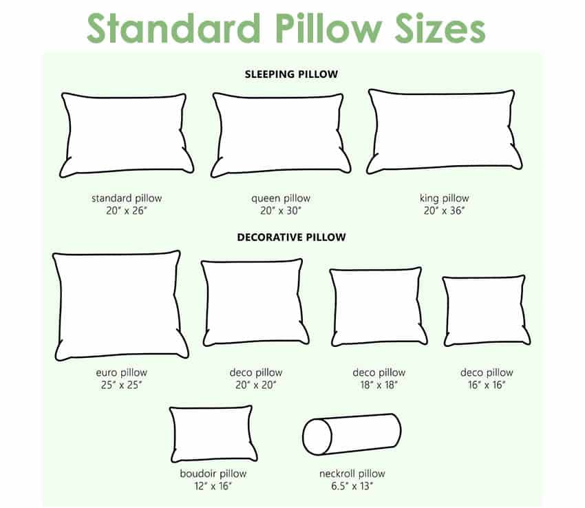 pillow dimensions sleeping decor