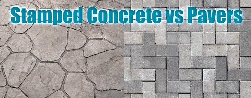 stamped concrete patio vs pavers designing idea