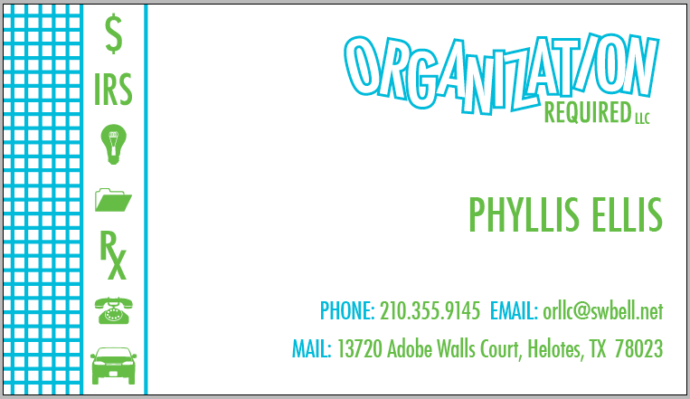 Business card and logo for Organization Required, LLC