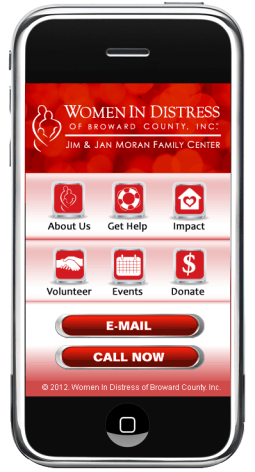 The homepage of the Women In Distress mobile site