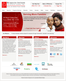 After the re-design the Women In Distress home page, as well as interior pages, took on a cleaner look that was more aligned with the agency's branding