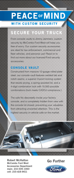 Front of a rack card I designed for McCombs Ford West