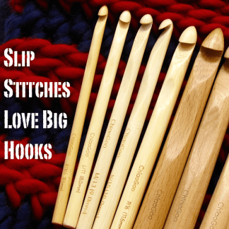 Slip Stitches Love Big Hooks! Hook sizes K through U on a background of super-bulky striped slip stitch ribbing.