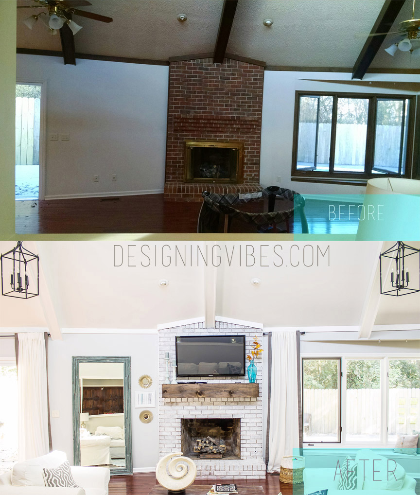 modern living room with brick fireplace. Living Room Light And Airy Transformation Modern With Brick Fireplace