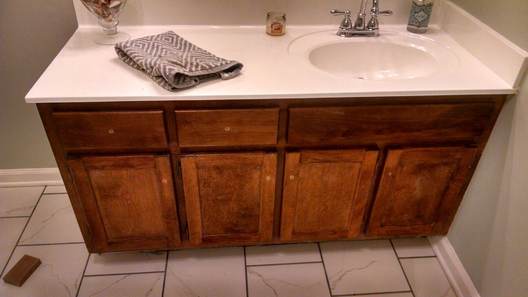 Transforming Bathroom Vanity With Gel Stain Java Gel Stain - How to stain a bathroom vanity