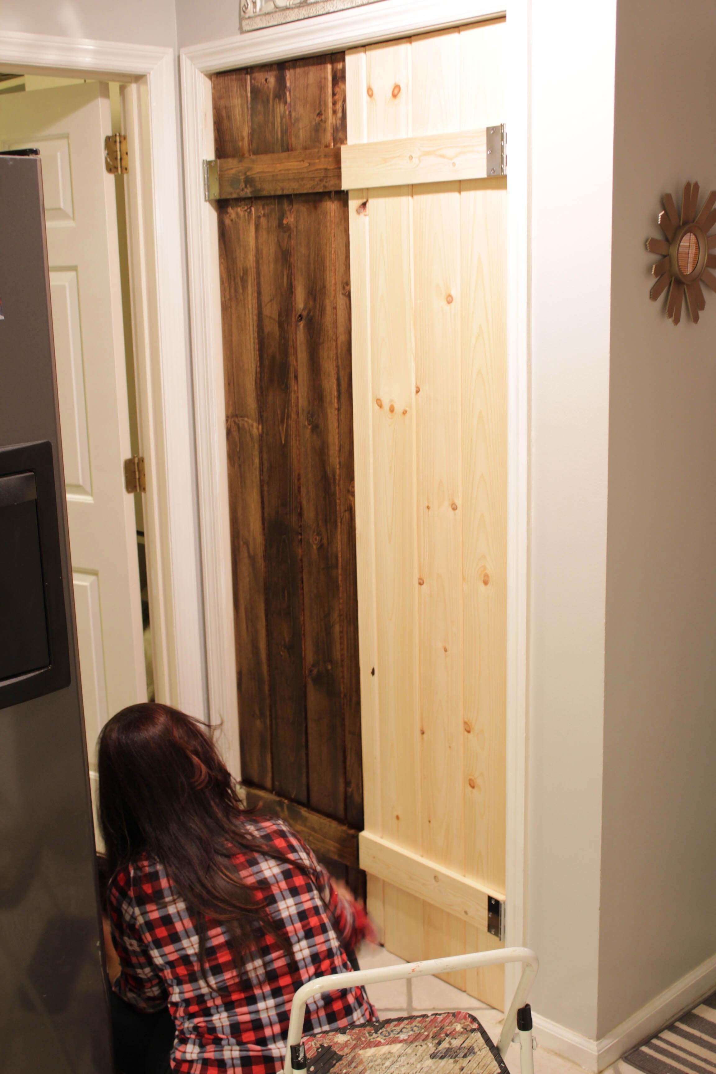 Double Pantry Barn Door Diy Under 90 Bifold Pantry Door Diy