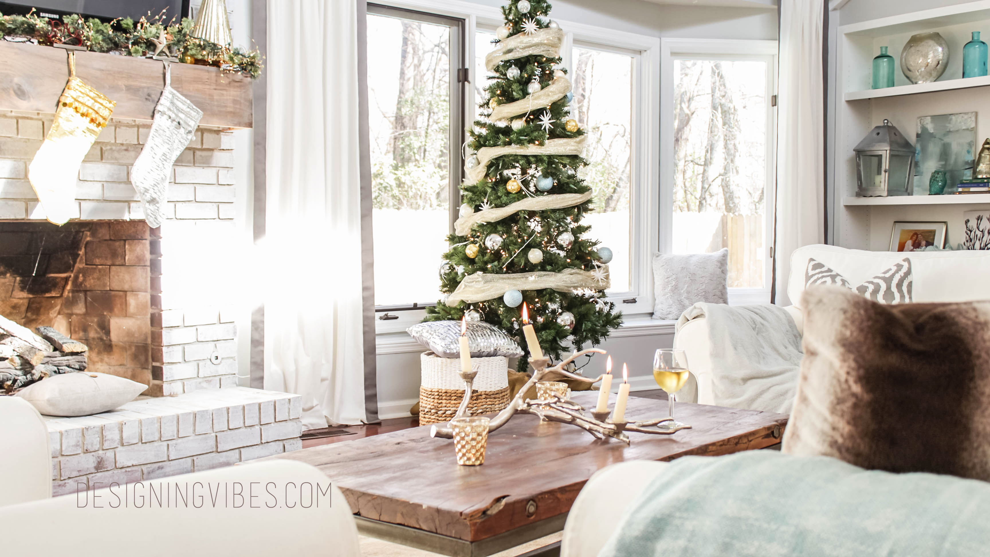 Living Room Christmas Rustic Glam Holiday Decor Home Tour Part 1