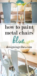 how to paint metal chairs blue